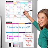 STYLIO Dry Erase Calendar Whiteboard. Set of 3 Magnetic Calendars for Refrigerator: Monthly, Weekly Organizer & Daily Notepad