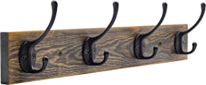 Wall Mounted Coat Rack, Entryway Hanging Coat Rack, Metal Wood Coat Rack with 4 Black Literary Rustic Hooks Rail for Coat, Scarf, Bag, Towel, Key, Cap, Cup, Hat (Brown)