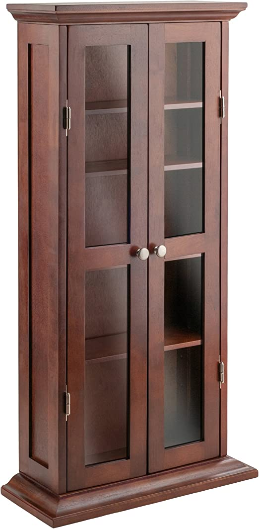 Winsome Wood Cd Dvd Cabinet With Glass Doors Antique Walnut Amazon Ca Home Kitchen