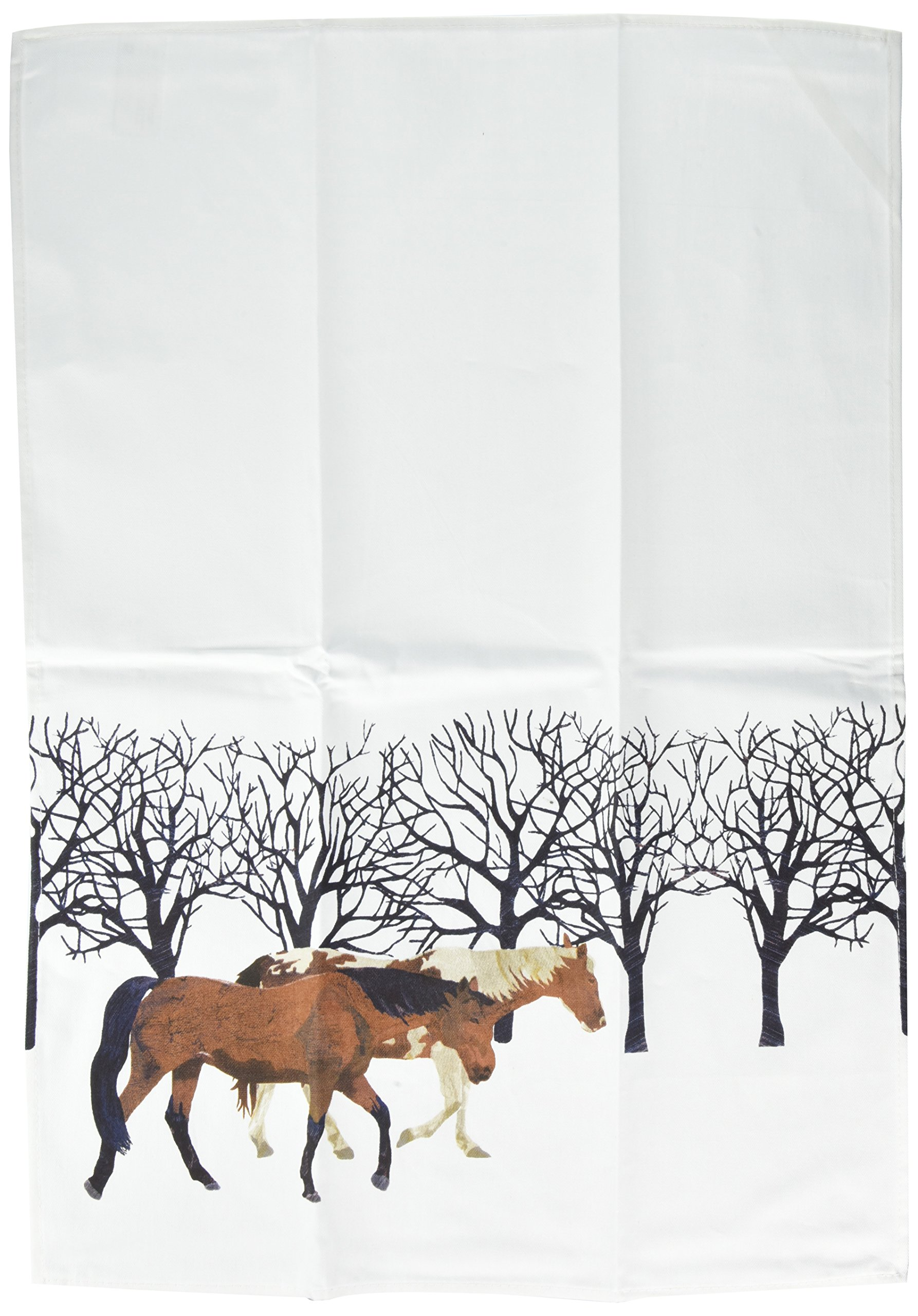 Paperproducts Design Kitchen Towel Featuring Winter Horses Design, Multicolor
