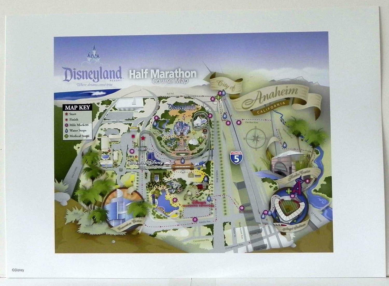 Disney Los Angeles Map.Walt Disney Disneyland Resort Half Marathon Course Map Anaheim Color