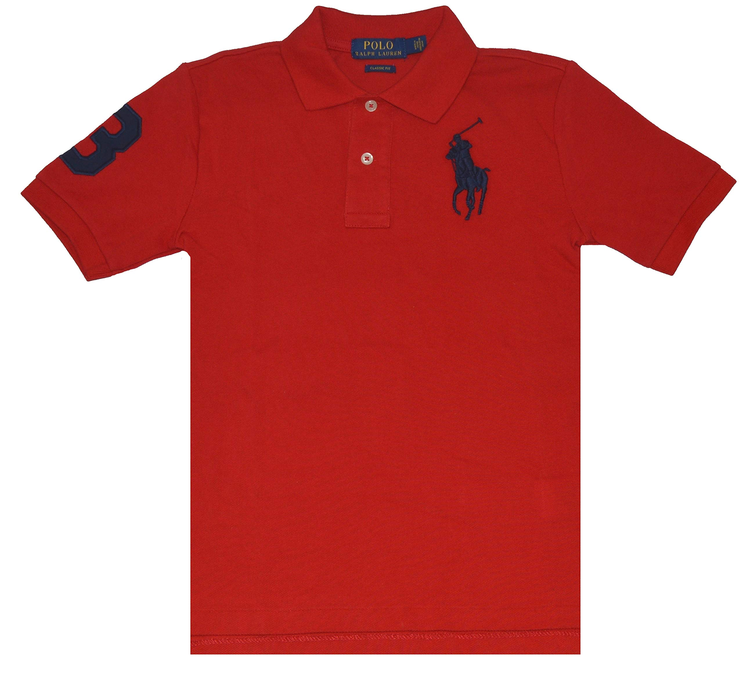 Polo Ralph Lauren Boy's Short Sleeve Mesh Classic Fit Big Pony Polo (Red, L/G (14-16))