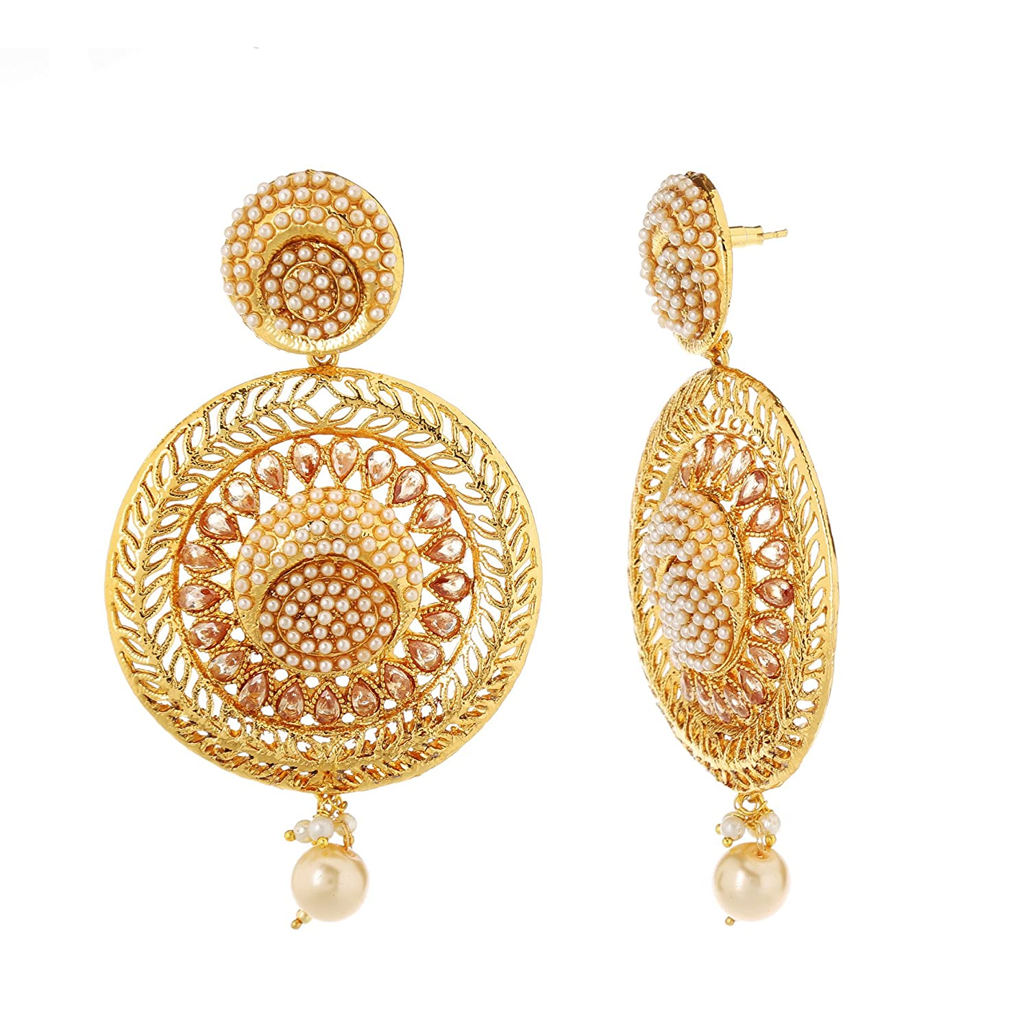 716c5e594d970 Homies International Gold Kundan Pearl Dangle & Drop Earrings For ...