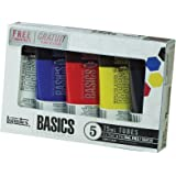 Liquitex Basics Acrylic Color Set, 4-pack of 75mL tubes with Bonus Titanium White