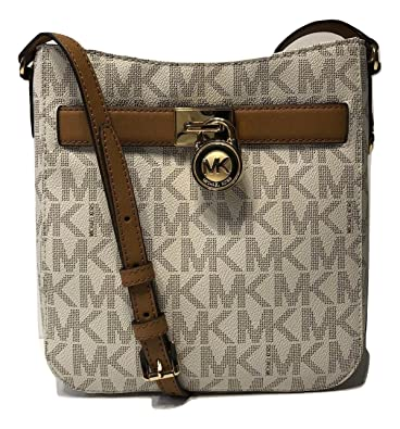 24fa75856998 MICHAEL Michael Kors Hamilton Traveler Crossbody (Signature MK  Vanilla Acorn)  Handbags  Amazon.com
