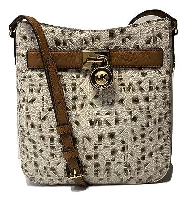 d28524a2b221 MICHAEL Michael Kors Hamilton Traveler Crossbody (Signature MK Vanilla  Acorn)