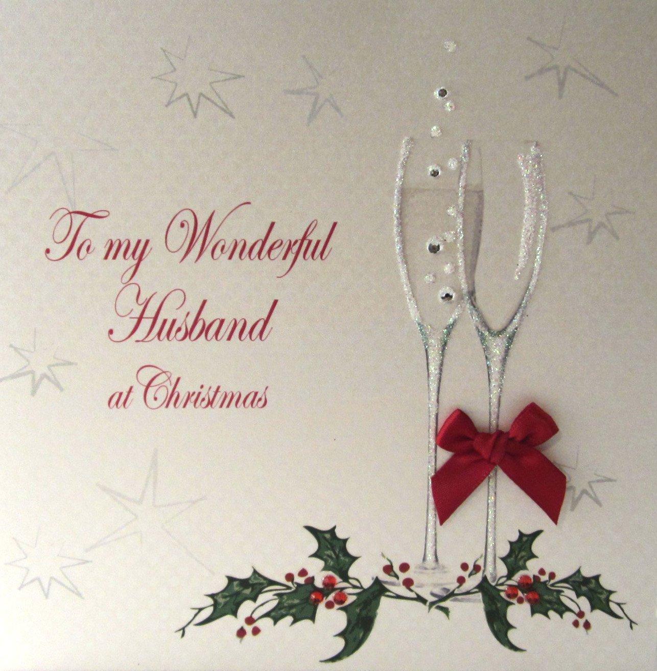 WHITE COTTON CARDS X60A To My Wonderful Husband Handmade Christmas ...
