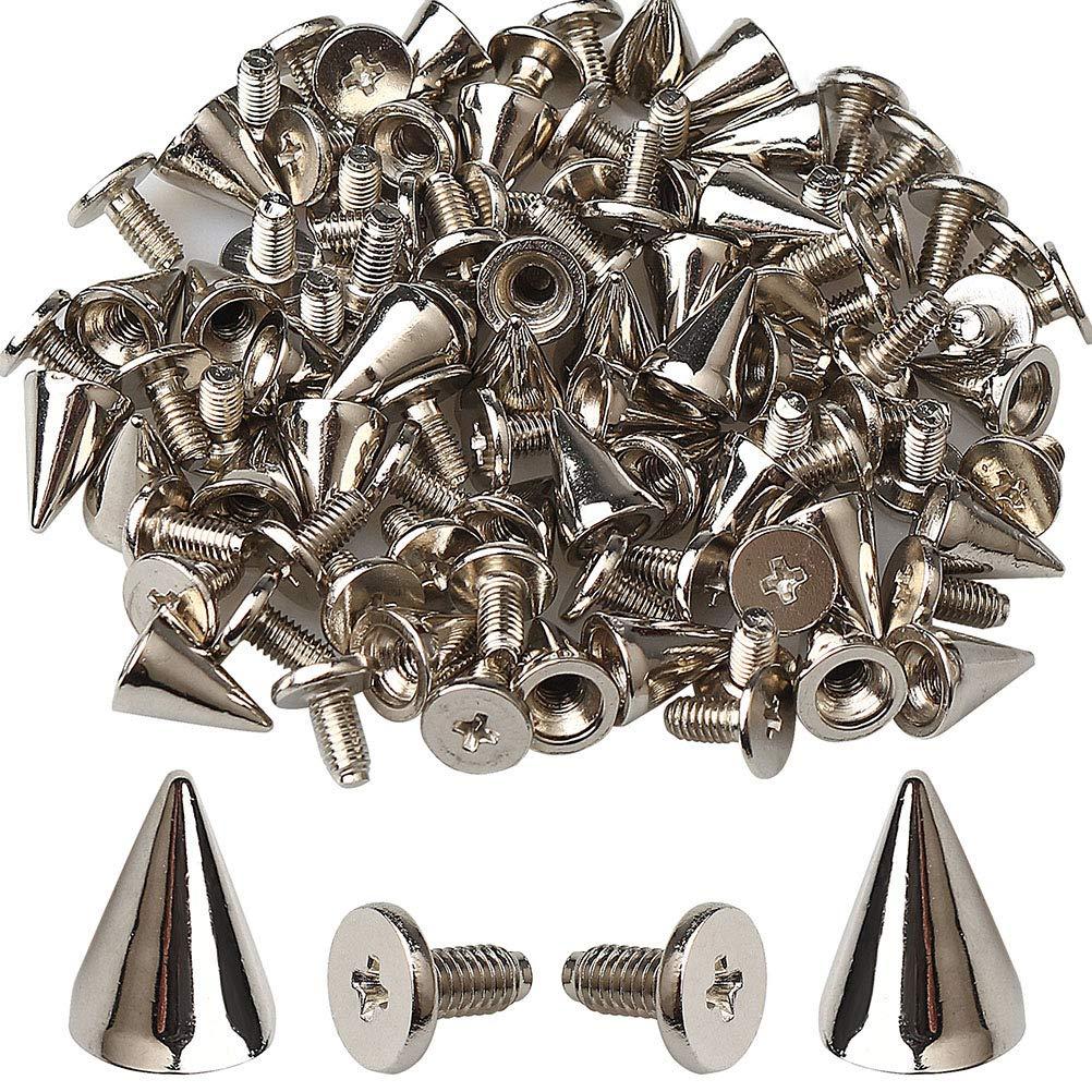 Coogain 100pcs Cone Spikes Screwback Studs, Silver Stud Metal DIY Craft Cool Rivets Punk