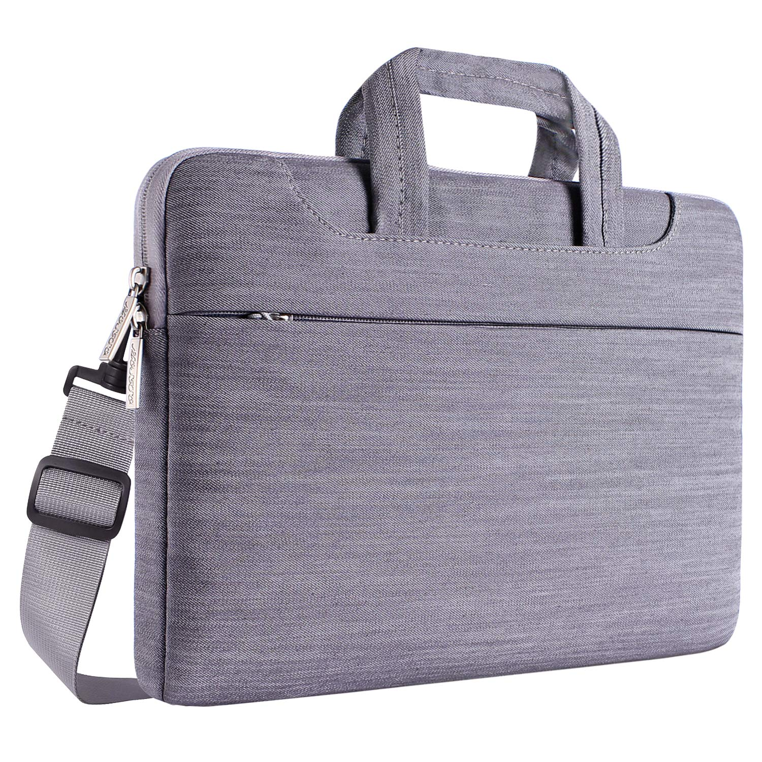 MOSISO Laptop Shoulder Bag Compatible 15-15.6 Inch New MacBook Pro with Touch Bar A1990 & A1707 2018 2017 2016, MacBook Pro, Also Compatible 14 Inch Ultrabook, Denim Briefcase Sleeve, Gray
