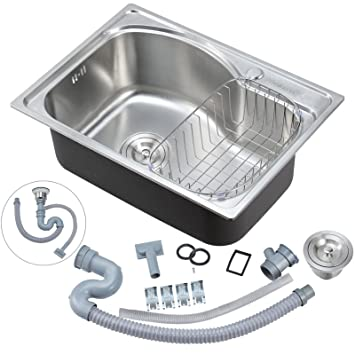 Voilamart Stainless Steel 1.0 Single Bowl Square Kitchen Sink With Drainer,  Waste And Dish Drainer