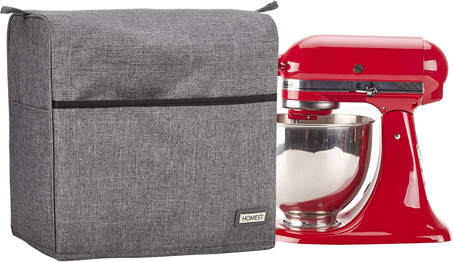 Dust Cover with Zipper Pocket for Accessories Grey NICOGENA Stand Mixer Cover Compatible with KitchenAid Tilt Head 4.5-5 Quart