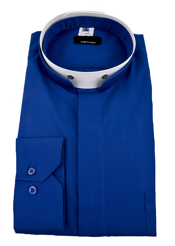 Mens Long Sleeve Premium Italian Roman Tonsure Collar Clergy Shirt