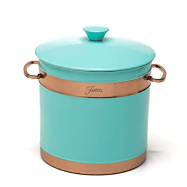 Fiesta 3 quart Double-Walled Ice Bucket with Copper Accents, Turquoise
