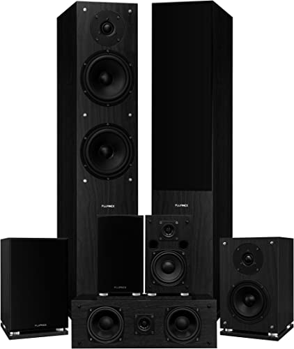 Fluance Elite Series Surround Sound Home Theater 7.0 Channel Speaker System Including Three-Way Floorstanding, Center Channel, Surround Rear Surround Speakers – Black Ash SX70BR