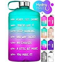 HydroMATE 1 Gallon Motivational Water Bottle with Times to Drink for the Day BPA Free Reusable Big Water Bottle with…