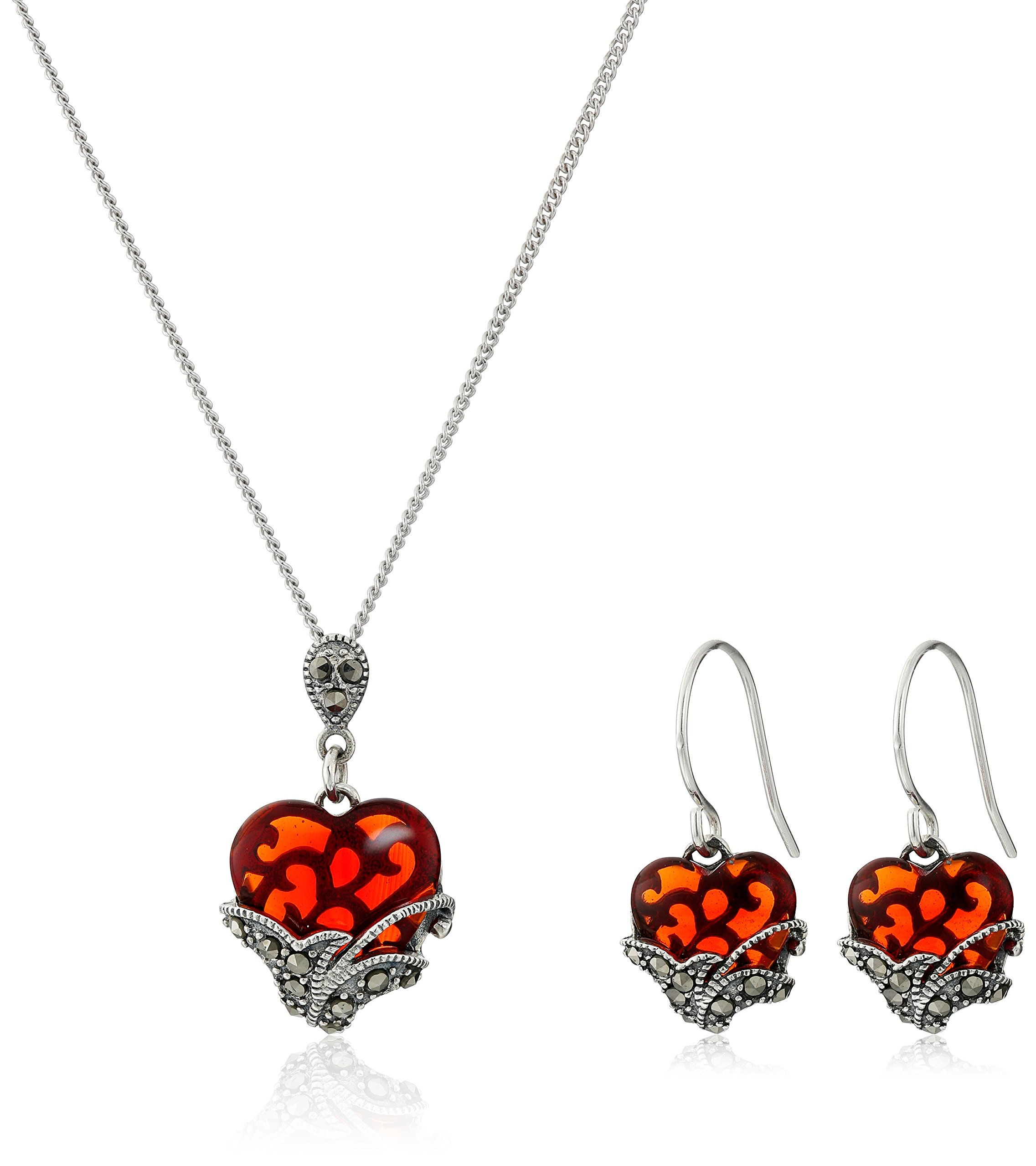 Sterling Silver Marcasite Red Glass Heart Earrings and Curb Chain Pendant Necklace Jewelry Set