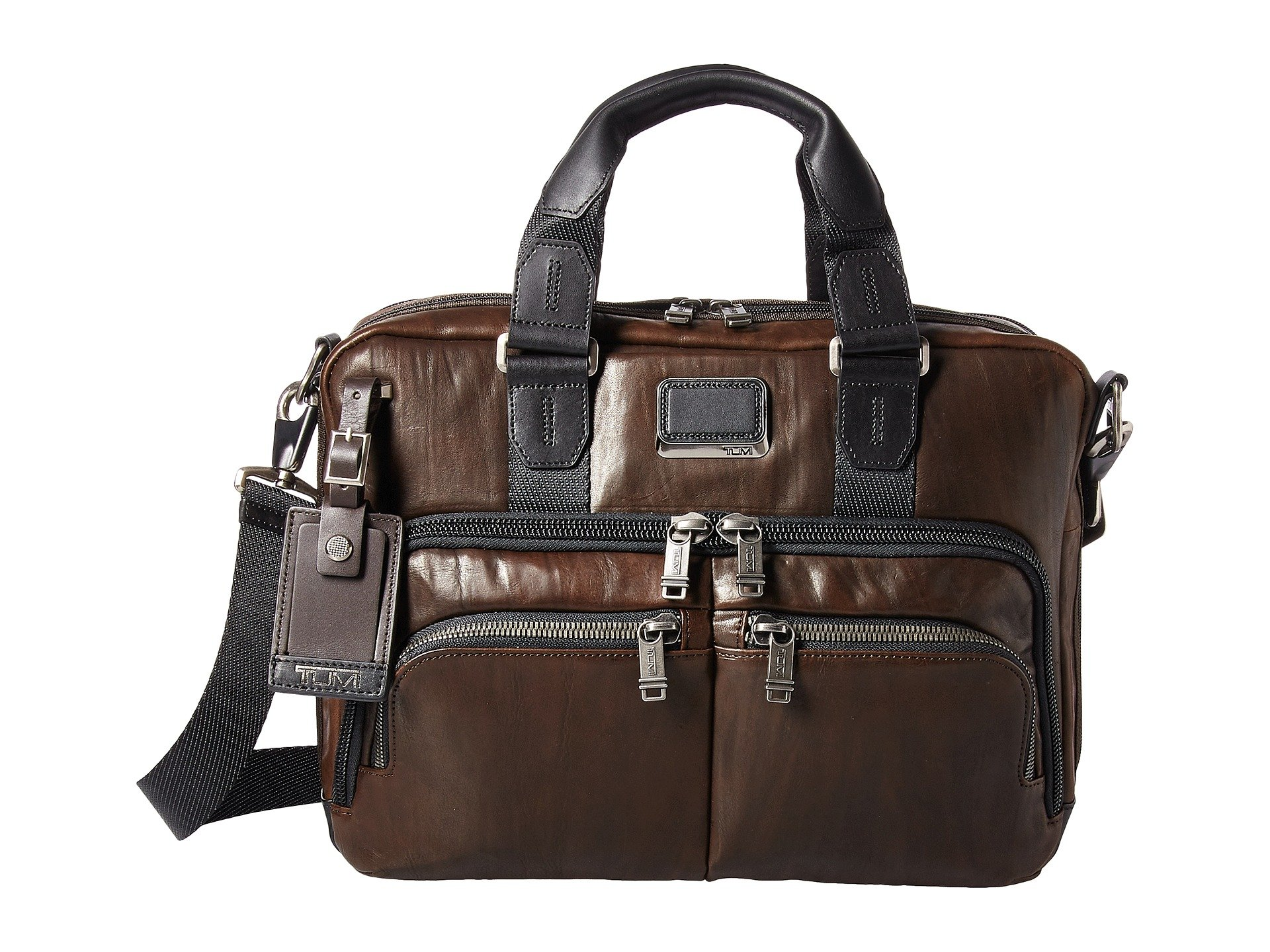TUMI - Alpha Bravo Albany Leather Laptop Slim Commuter Brief Briefcase - 14 InchComputer Bag for Men and Women - Dark Brown by TUMI
