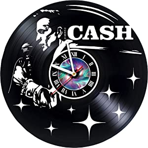 StepArtHouse Johnny Cash Guitar - Handmade Vinyl Wall Clock - Get Unique Gifts Presents for Birthday, Christmas, Ideas for Boys, Girls, Men, Women, Adults, him and her - Unique Design