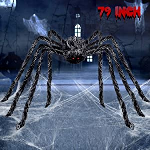 6.6FT Giant Hairy Spider Halloween Decorations Scary Outdoor Yard Decor, Gray and Black