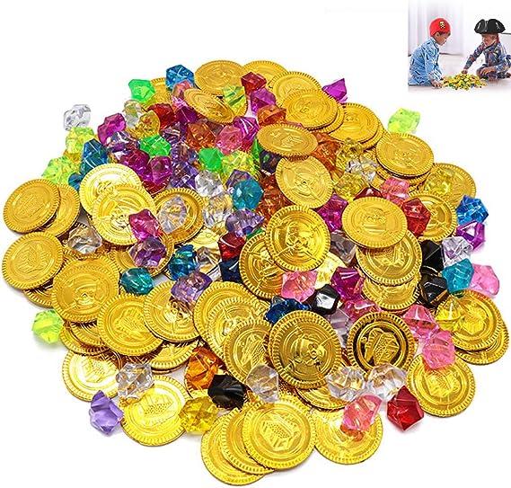 Monedas de Oro y Gemas Piratas del Tesoro Pirata, Niños de Monedas de Oro de 50 Piezas y Gemas Piratas de 100 Piezas, Tesoros para la Búsqueda del Tesoro Cumpleaños de los