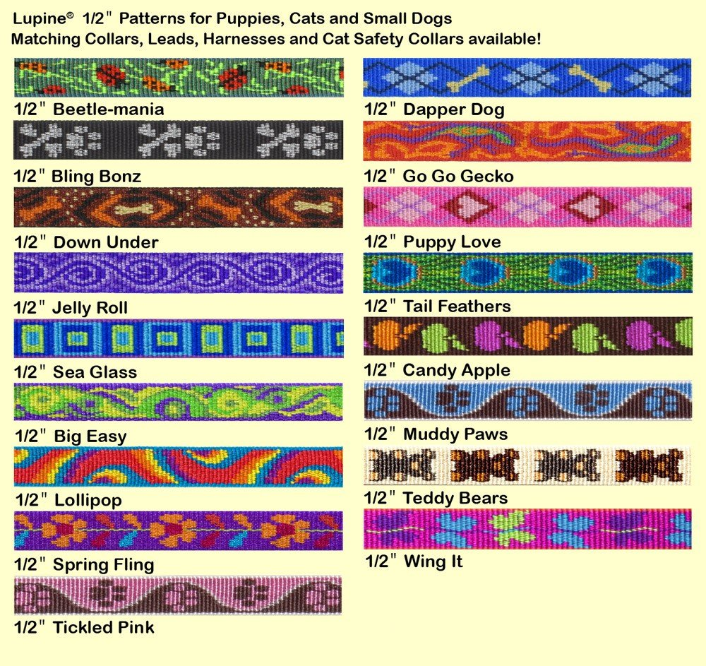 LupinePet Originals 1/2'' Bling Bonz 12-20'' H-style Harness for Small Pets