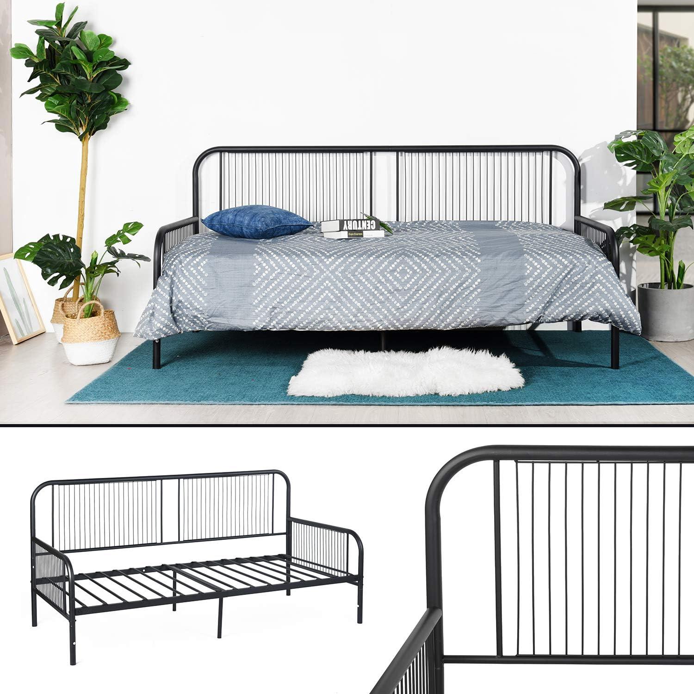 FURNITURE-R France - Cama para niños y adultos (marco de metal, acero, somier de láminas, cama individual, 1 plaza, sofá cama para niños y adultos, ...