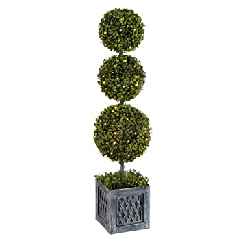 Outdoor Topiary Trees With Lights Amazon indoor outdoor 39 boxwood triple topiary tree with indoor outdoor 39 boxwood triple topiary tree with led lights includes planter and workwithnaturefo