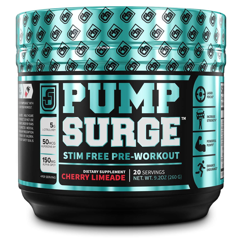 PUMPSURGE Caffeine-Free Pump & Nootropic Pre Workout Supplement, Non Stimulant Preworkout Powder & Nitric Oxide Booster,20 Servings, Cherry Limeade, 8.8 OZ