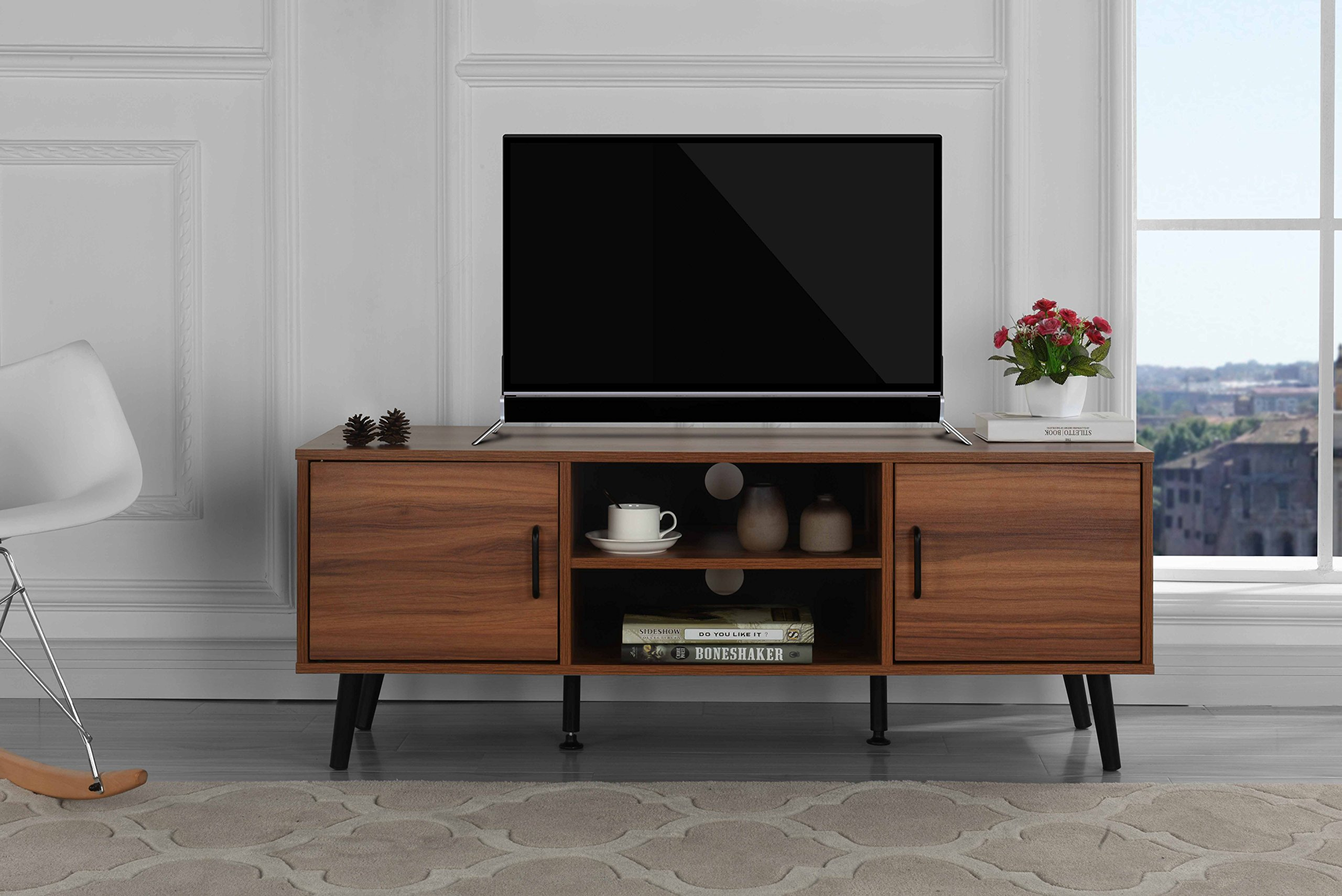 Divano Roma Furniture Mid Century Modern TV Stand (Dark Brown) by DIVANO ROMA FURNITURE