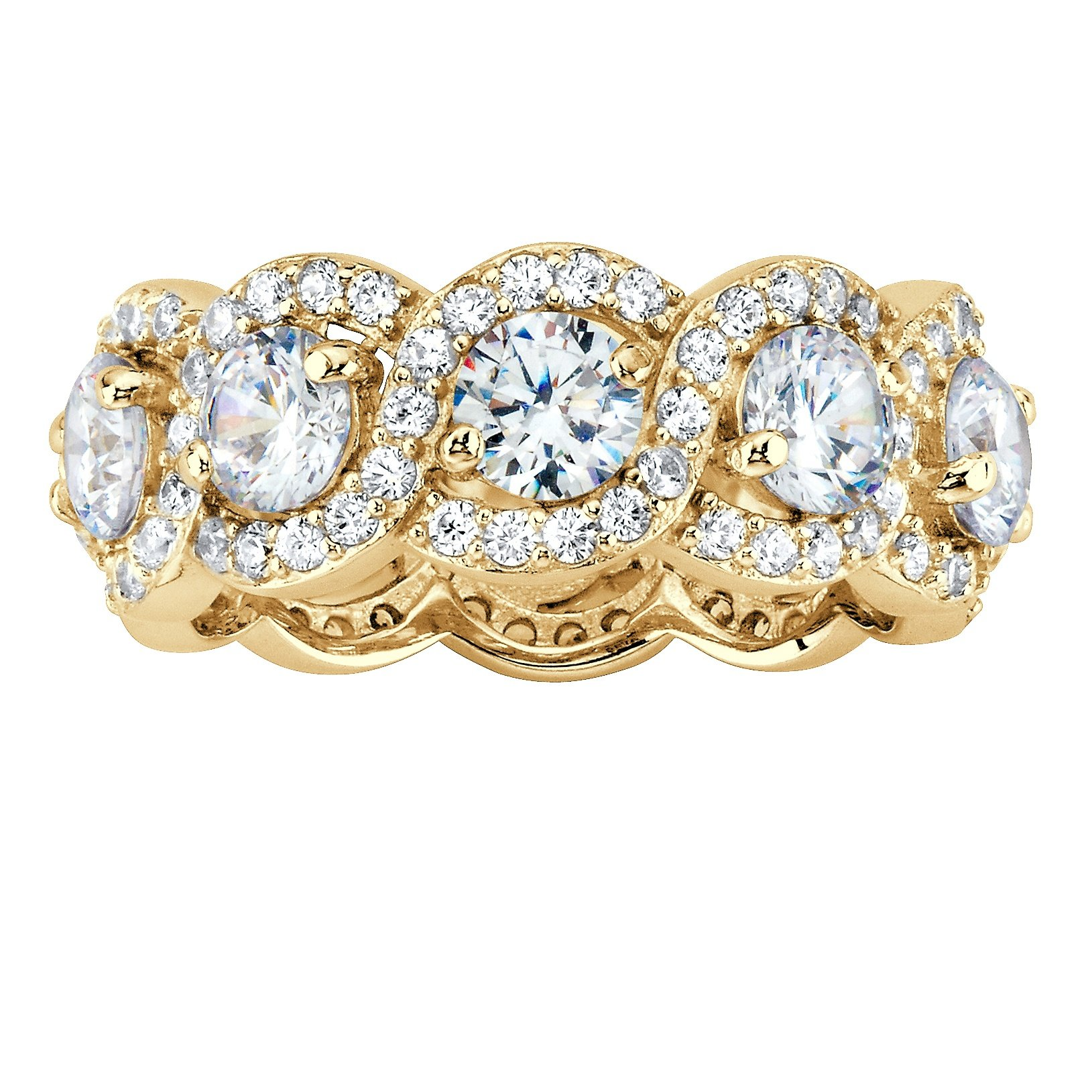 14K Gold over Sterling Silver Round Cubic Zirconia Halo Crossover Eternity Ring Size 7