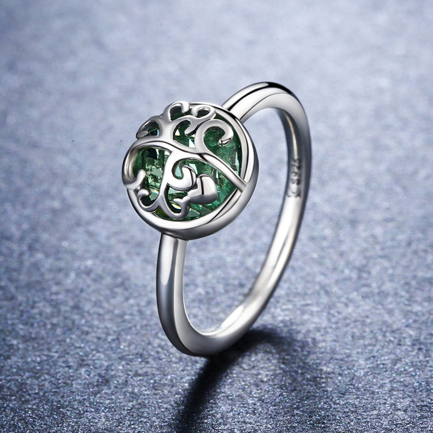 925-Sterling-Silver-Family-Tree-of-Life-Green-Birthstone-Crystal-Ring-Healing-Ring-Gift-for-Women-Jewelry