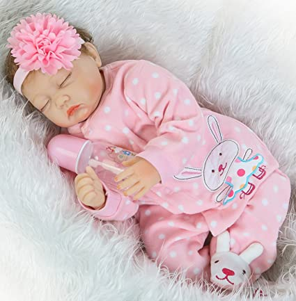 Reborn Baby Girl Sleeping 22 Inch Lifelike Reborn Doll Newborn Silicone Vinyl Eyes Closed Pacifier Handmade Weighted