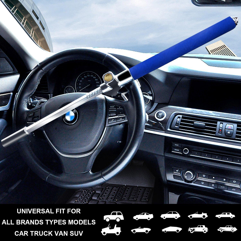 Azul Cerradura del Volante Antirrobo Alta Seguridad Fuerte Universal para Todos Veh/ículos Bloqueo Giratoria Ajustable Autodefensa con 3 Llaves