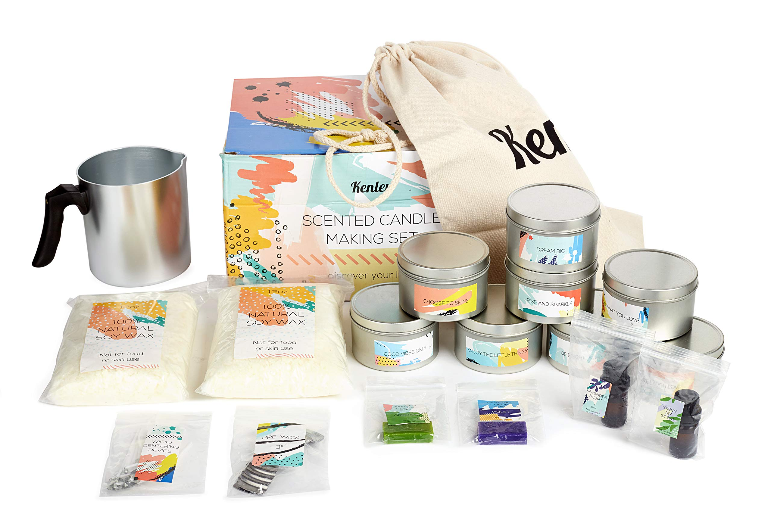 Candle Making Kit - Gift Set for Kids & Adults with Candle Making Supplies - Natural Soy Wax, Green Tea & Lavender Scents, Color Dye, Melting Pot, Wicks - Make Your Own Scented Candles DIY Craft Kits