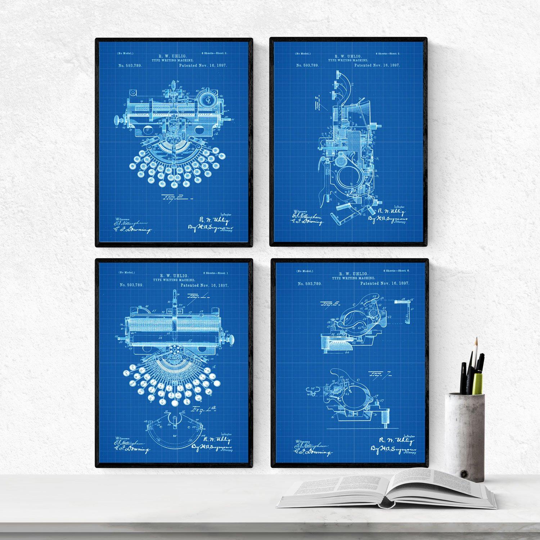 Nacnic Azul - Pack de 4 Láminas con Patentes de MAQUINAS DE Escribir. Set de Posters con inventos y Patentes Antiguas. Elije el Color Que Más te guste.