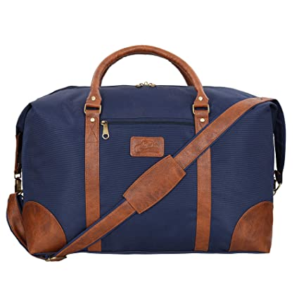 Leather World 46.2 Liter Blue 21 Inch PU Leather Nylon Duffle Bags with Zip  Closure Luggage Travel Bags for Men and Women (Blue)  Amazon.in  Bags fce9bd5f89d2e