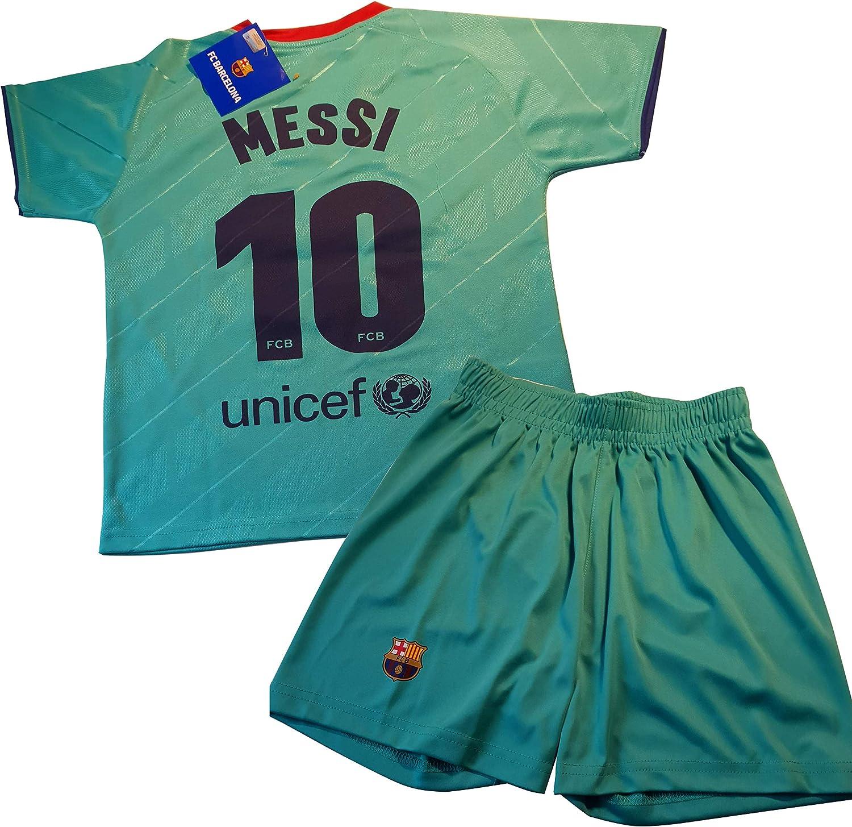 Replica Oficial con Licencia Conjunto Camiseta y pantal/ón 3/ª equipaci/ón FC Ni/ño Talla 14 Dorsal 10 Messi Barcelona 2019-20