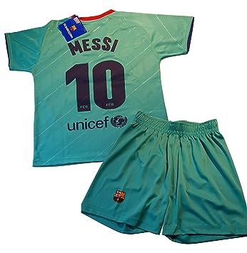 Barcelona 2019-20 Conjunto Camiseta y pantal/ón 1/ª equipaci/ón FC Dorsal Messi Ni/ño Talla 2 Replica Oficial con Licencia