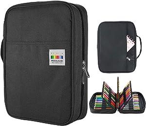 YOUSHARES 220 Slots Colored Pencil Case, 145 Slots Gel Pens fo Coloring Case Organizer, Handy Multilayer Color Pencil Holder for Glitter Gel Pens, Refills, Colored Pencils for Adults & Artist (Black)