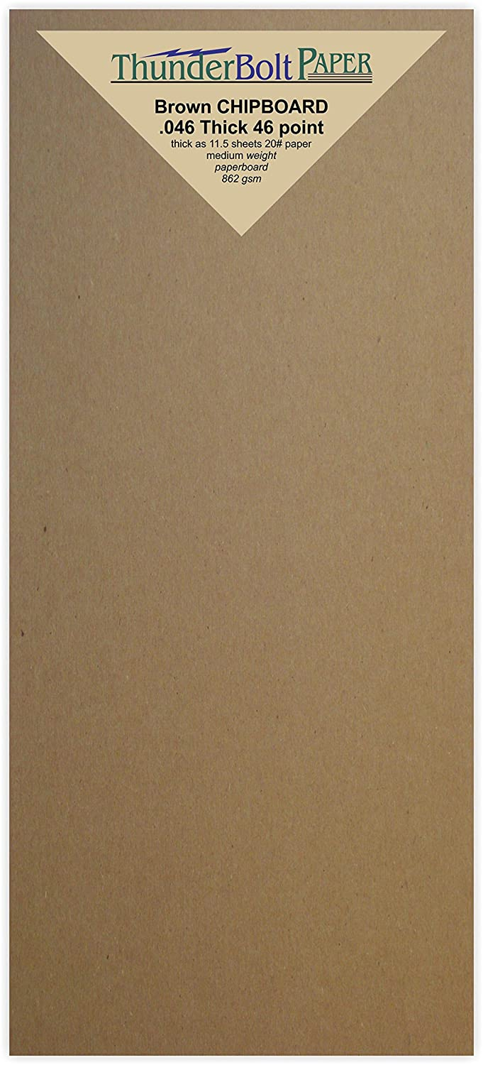 50 Sheets Chipboard 46pt (point) 4 X 9 Inches Medium Weight Size Fits #10 Envelope .046 Caliper Thickness Cardboard Craft|Packing Brown Kraft Paper Board TBP