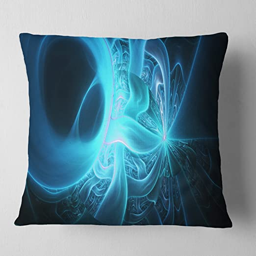Designart Cu16034 16 16 Shining Bright Blue On Black Abstract Throw Cushion Pillow Cover For Living Room Sofa 16 In X 16 In Amazon Ca Home Kitchen