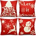 4-Pack EZIGO Christmas Cotton Linen Throw Pillow Covers