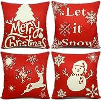 4-Pack EZIGO Christmas Cotton Linen Throw Pillow Covers