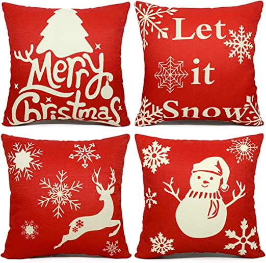 Christmas Pillow Case Xmas Cotton Sofa Throw Cushion Cover Home Decor Gifts Hot