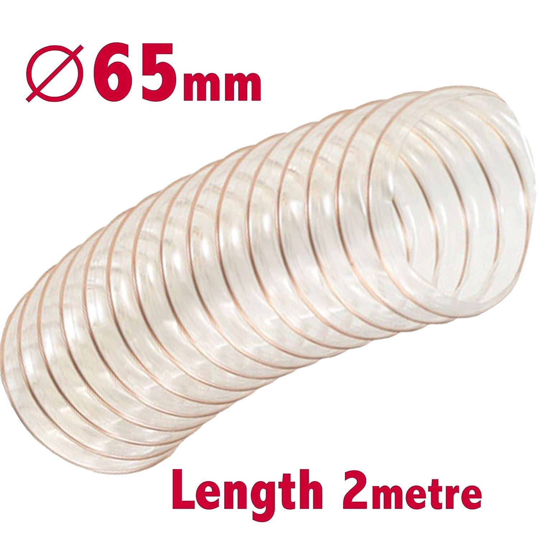 Flexible clair Extracteur de poussiè re Tuyau 65 mm ID X 2 m de long d'extraction de sciure FUME menuiserie Conduit Ventilation Tuyau PLI