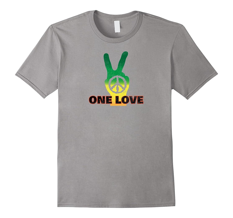 One Love World Reggae Roots Rasta Peace Sign T Shirt-T-Shirt