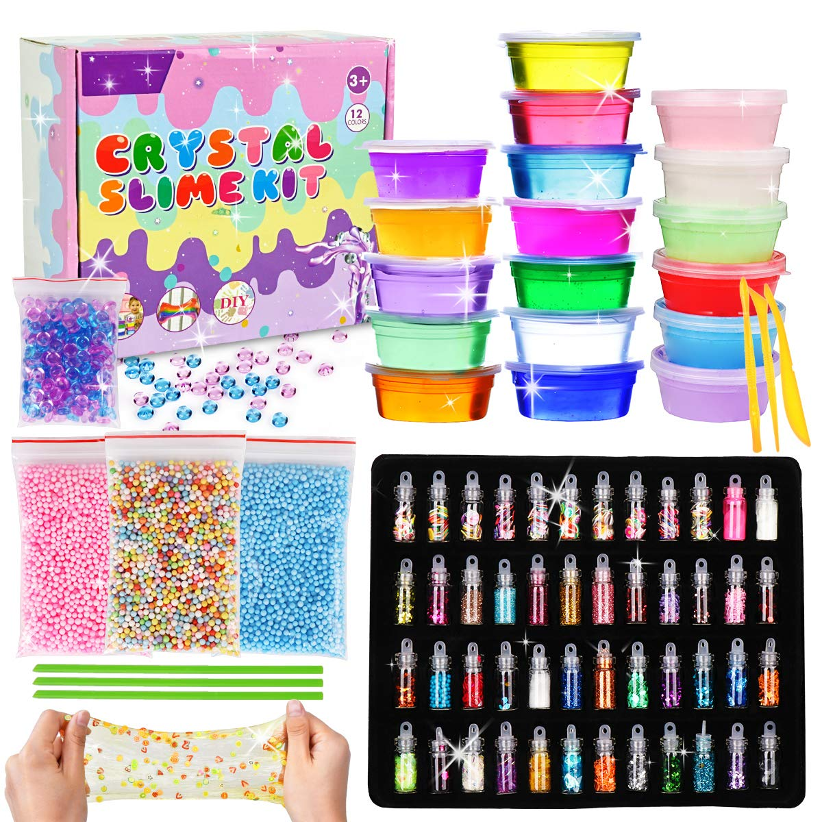 LOYO Slime Kit for Girls Boys - 76 pcs DIY Slime Making Kit Supplies with Kids Clear Crystal Slime and Fluffy Slime Includes Big Foam Beads to Make Your Own Glitter and Glow in The Dark SlimeSlime by LOYO