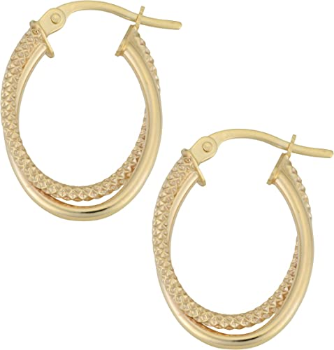 Mia Diamonds 14k Yellow Gold Polished Triple Oval Hoop Earrings