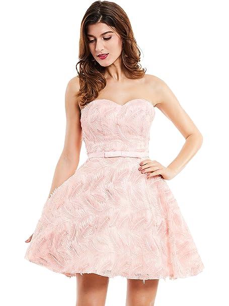 CLOCOLOR Vestido Corto A-line Cóctel Vintage Clásico para Mujer Sin Tirantes Vestido Plisado Falda