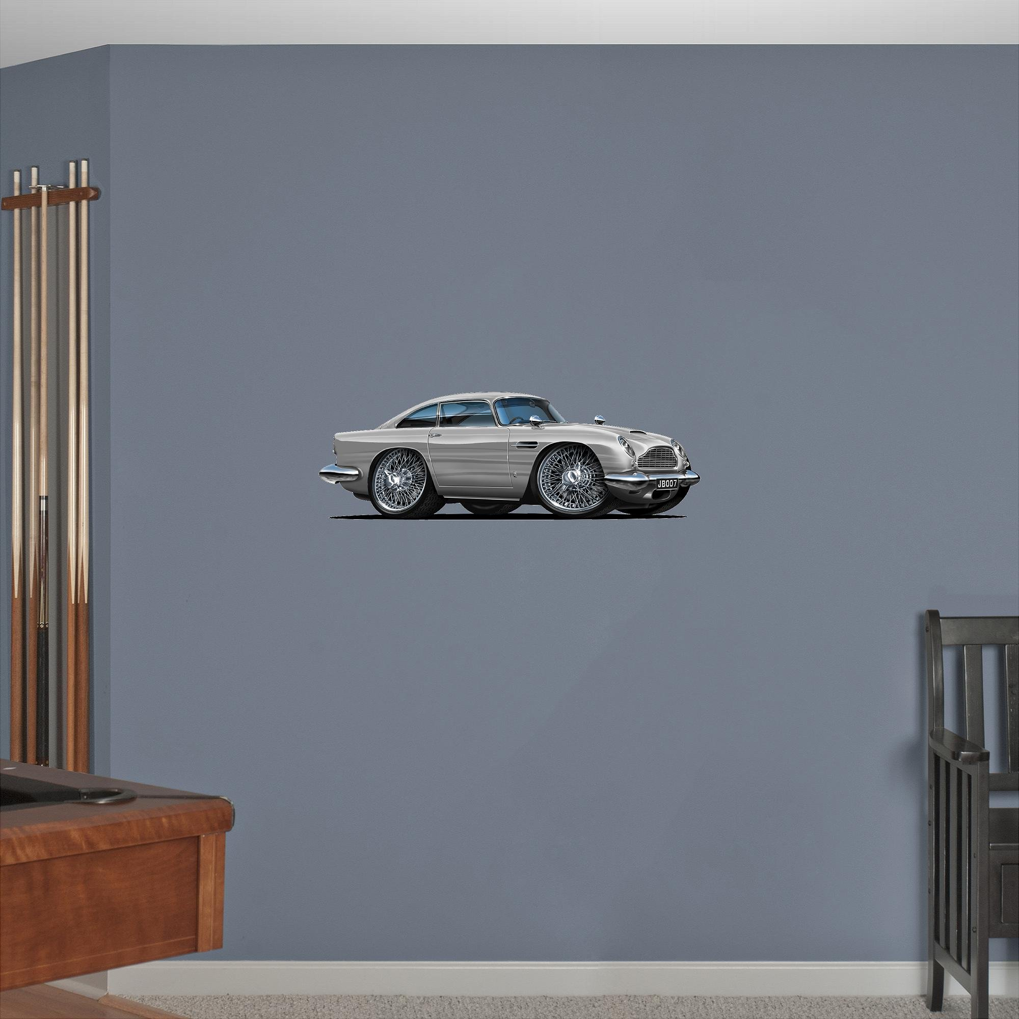 24'' Aston Martin Db5 Silver WALL DECAL Cartoon Luxury Car 3D Sticker Mural Kids Room Sports Den Man Cave Boys
